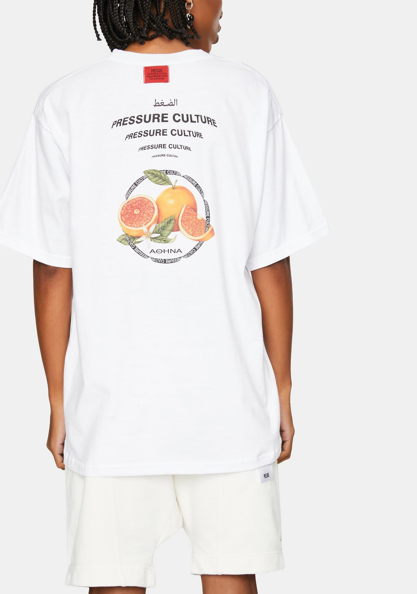 Pressure Clothes White Delta Fruits Graphic Tee