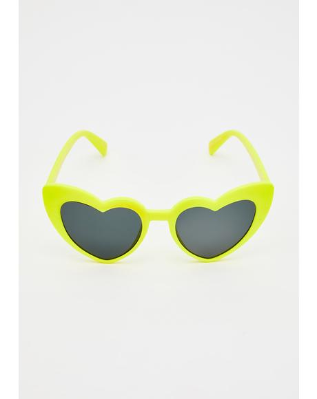 Neon Lover Heart Sunglasses