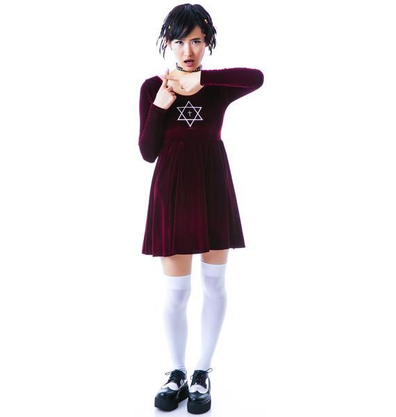 United Couture Trippy Long Sleeve Velvet Dress