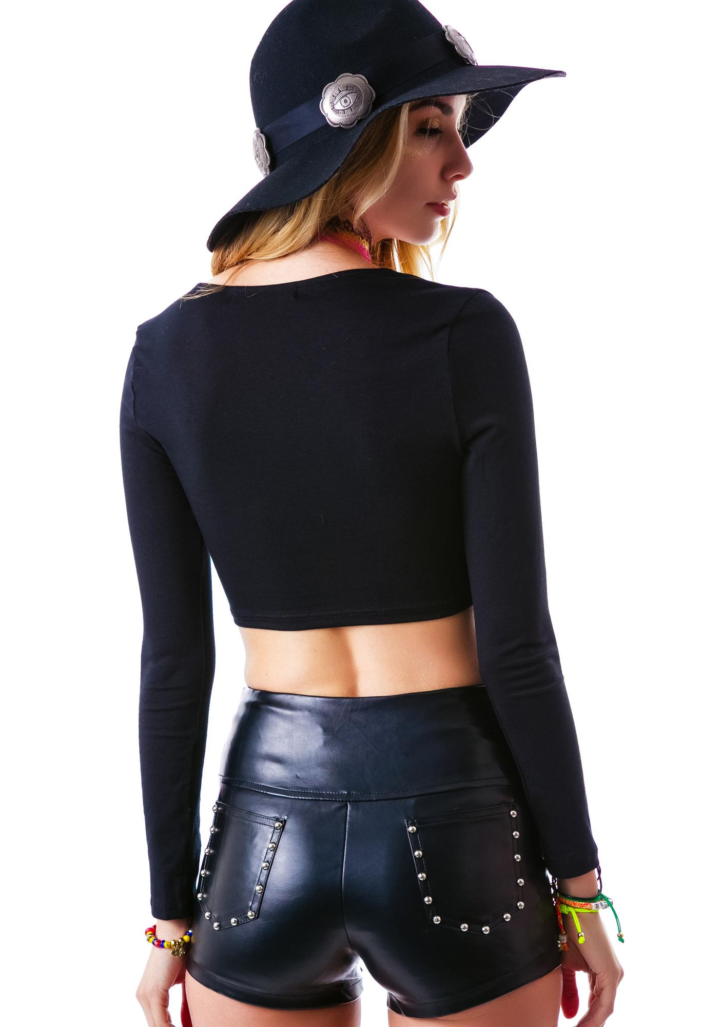 Hard Rock Studded Pleather Shorts