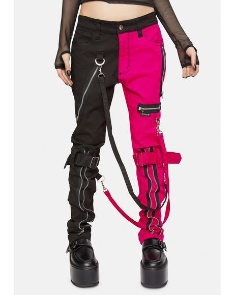 Pink Split Leg Bondage Pants