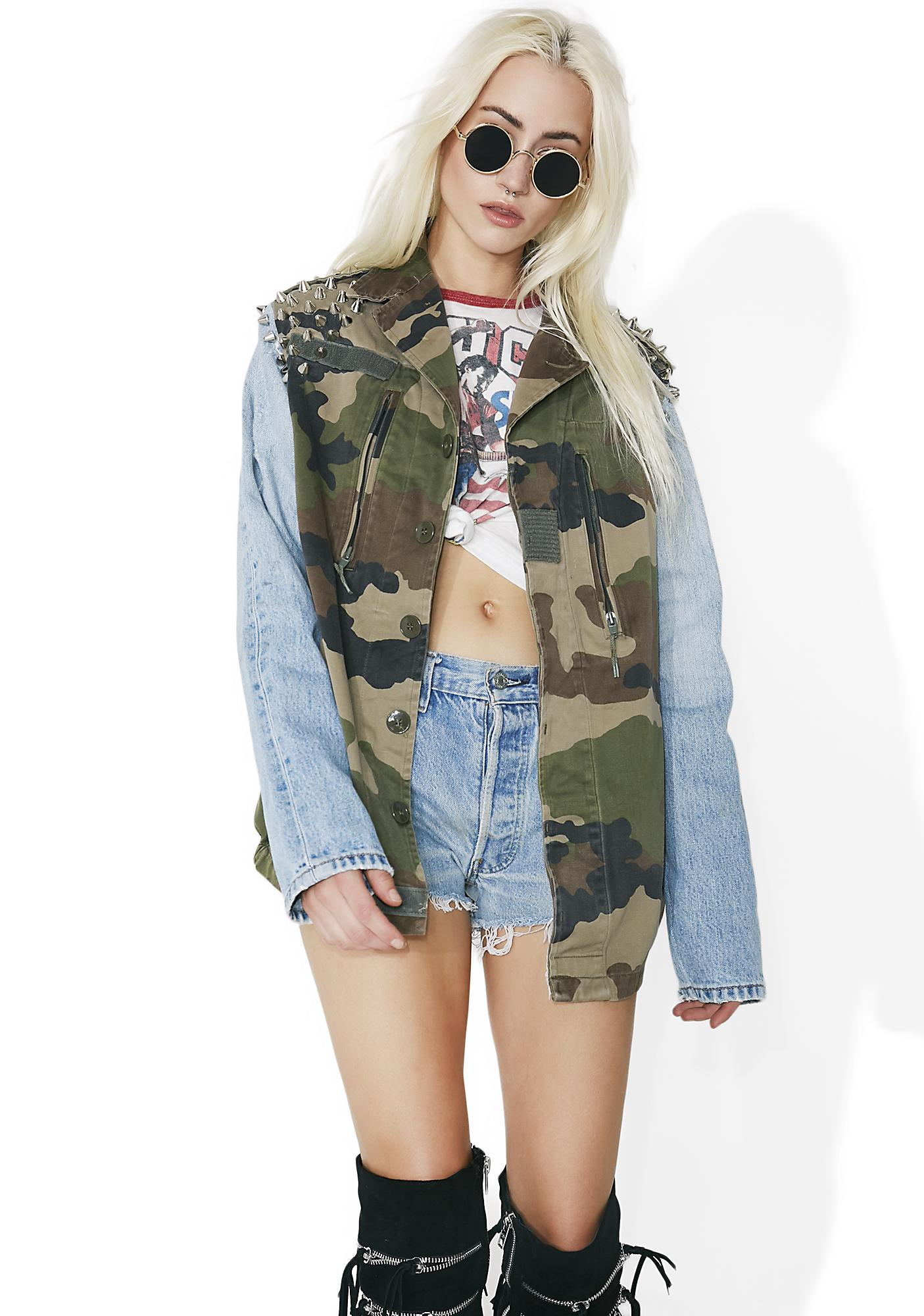 Vintage Military Stud Denim Jacket