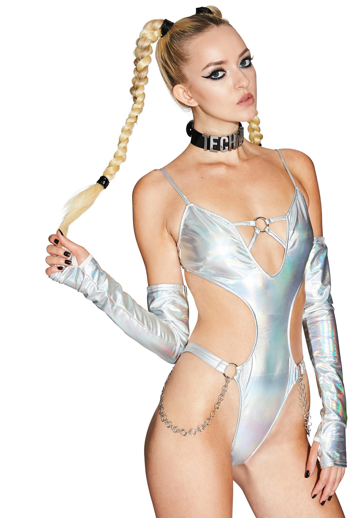 Club Exx Digital Angel Holographic Bodysuit