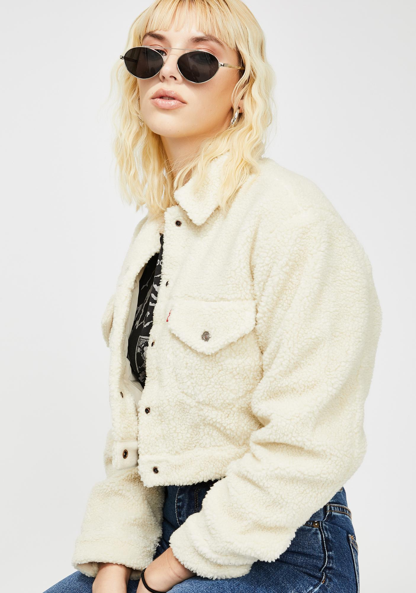 Levis Cloud Cream Cropped Sherpa Jacket