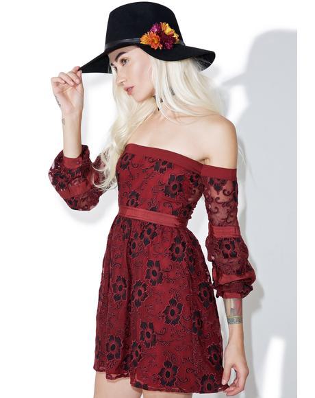 Burgundy Jolene Off-Shoulder Dress