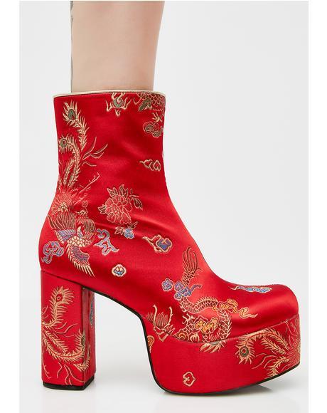Flame Spittin' Fiyah Brocade Boots