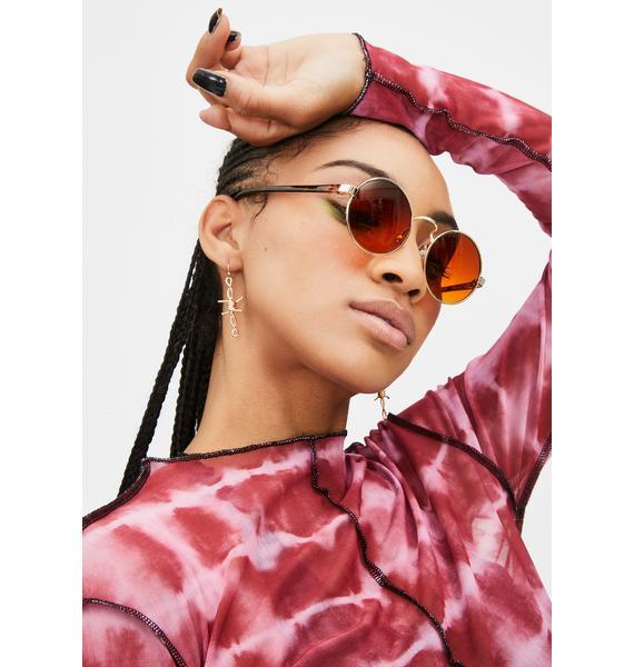 Good Times Eyewear Gold Block Rounders Sunglasses