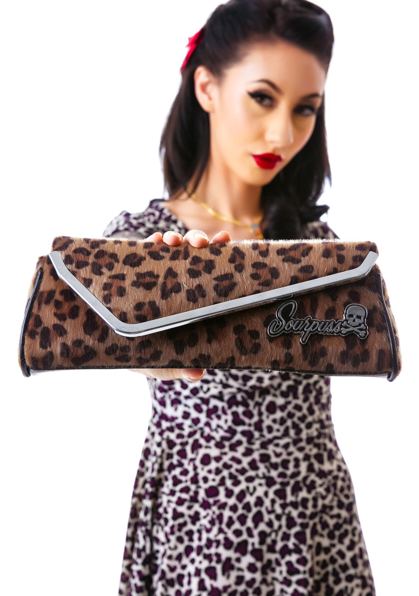 Sourpuss Clothing Leopard Party Clutch