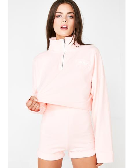Pink Ice Long Sleeve Crop N' Shorts Set