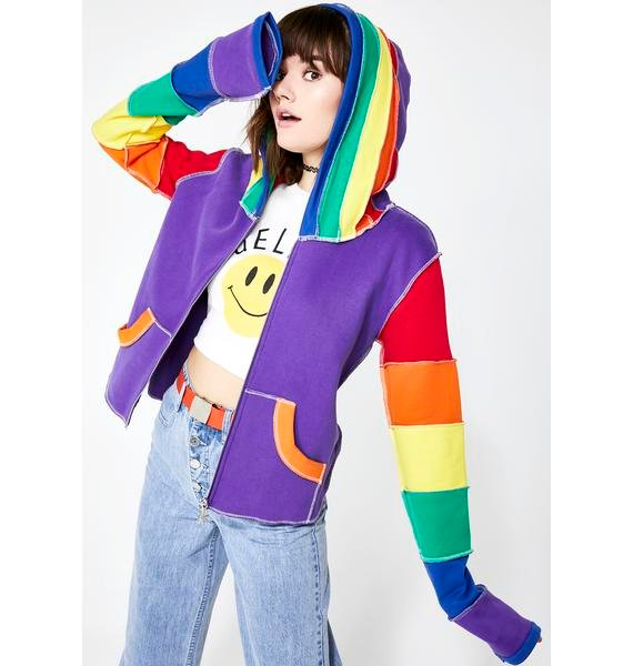 dELiA*s by Dolls Kill In Living Color Rainbow Hoodie
