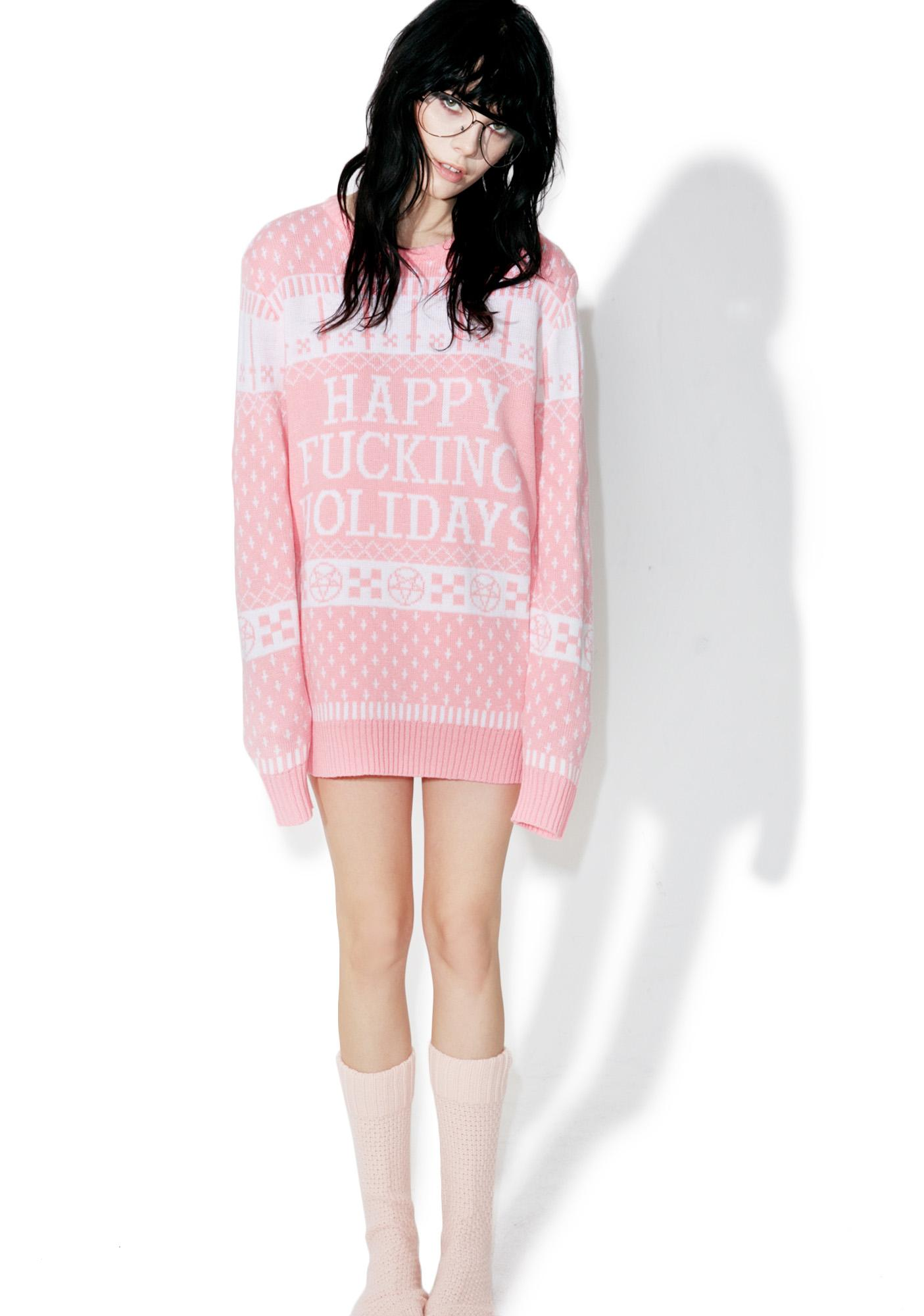 Current Mood Happy Fucking Holidays Sweater