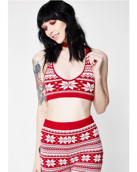 Snowflake Knit Bra