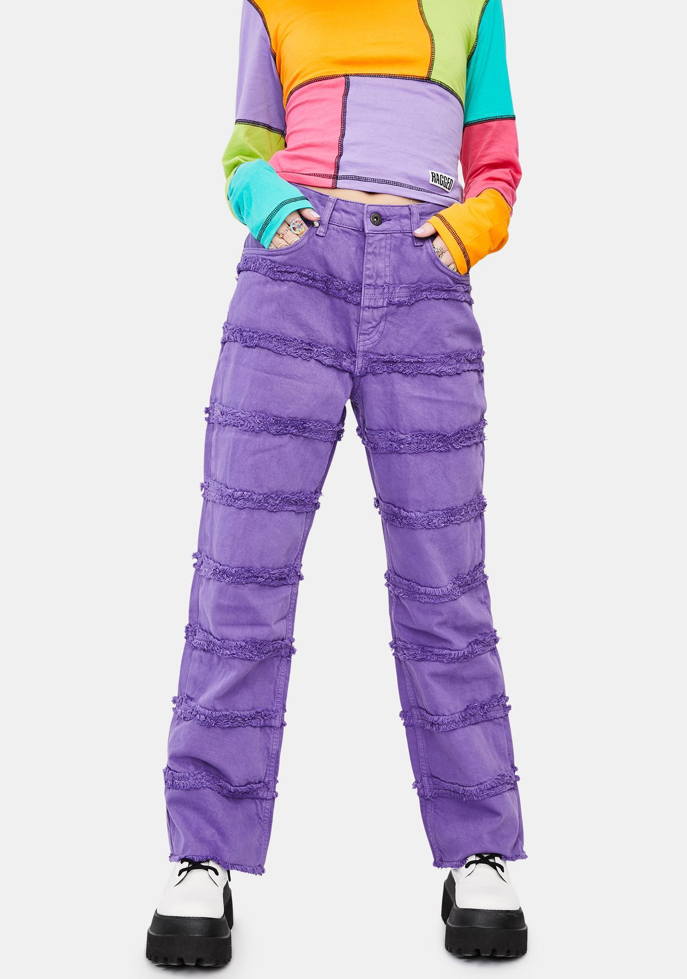 The Ragged Priest Purple Crook Distressed Denim Jeans