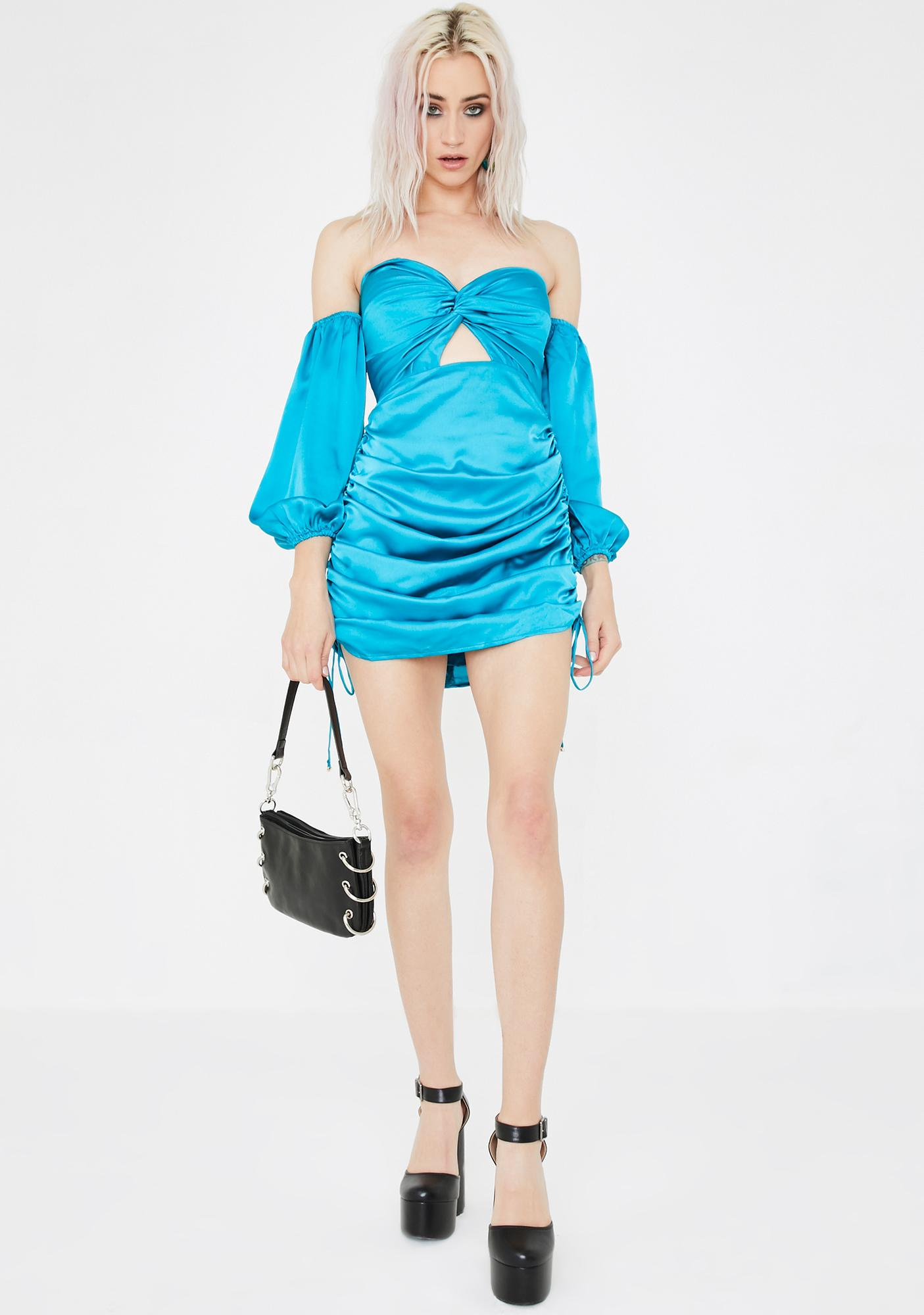 Runaway the Label  Teal Pouffe Sleeve Mini Dress