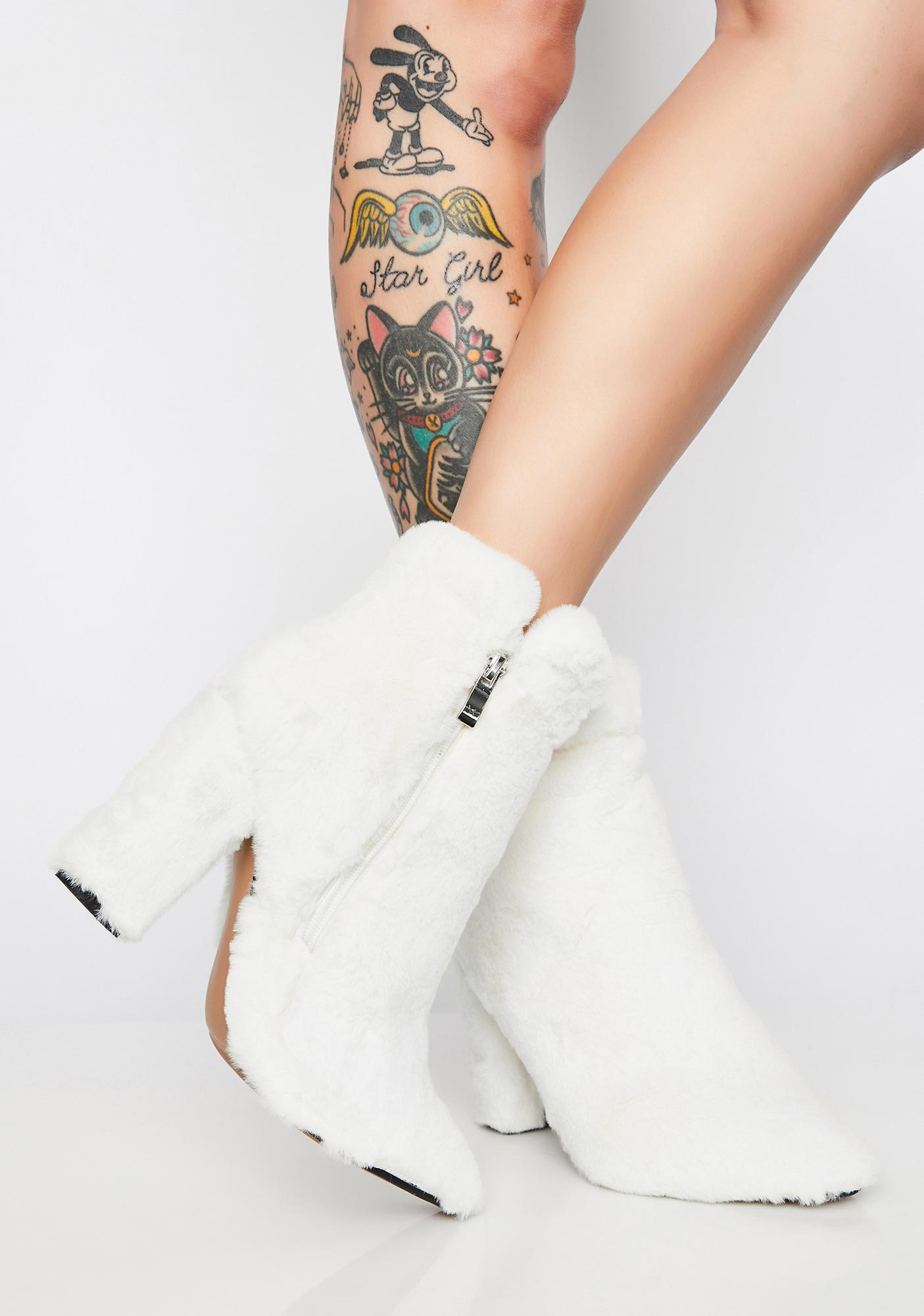 My Mum Made It Cream Faux Fur Boots