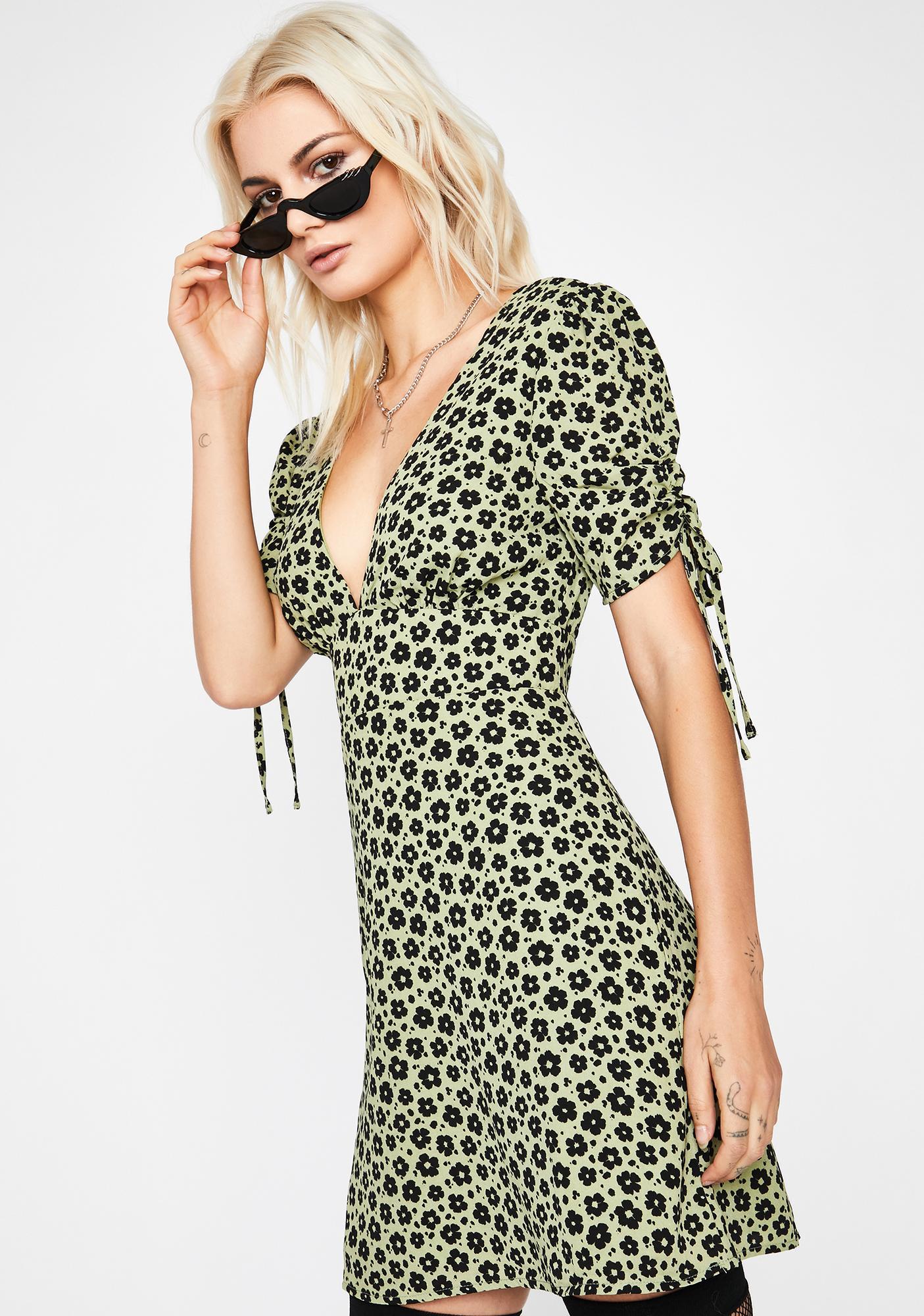 Olive Hardly Hurtin' Floral Mini Dress