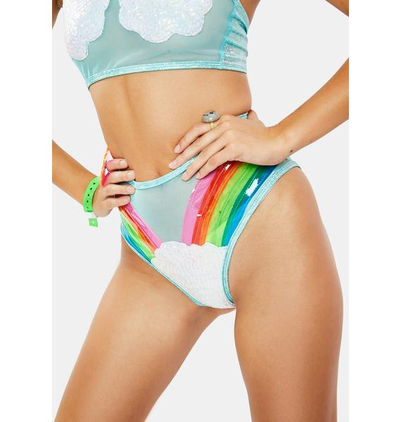 J Valentine Rainbow And Clouds Booty Shorts