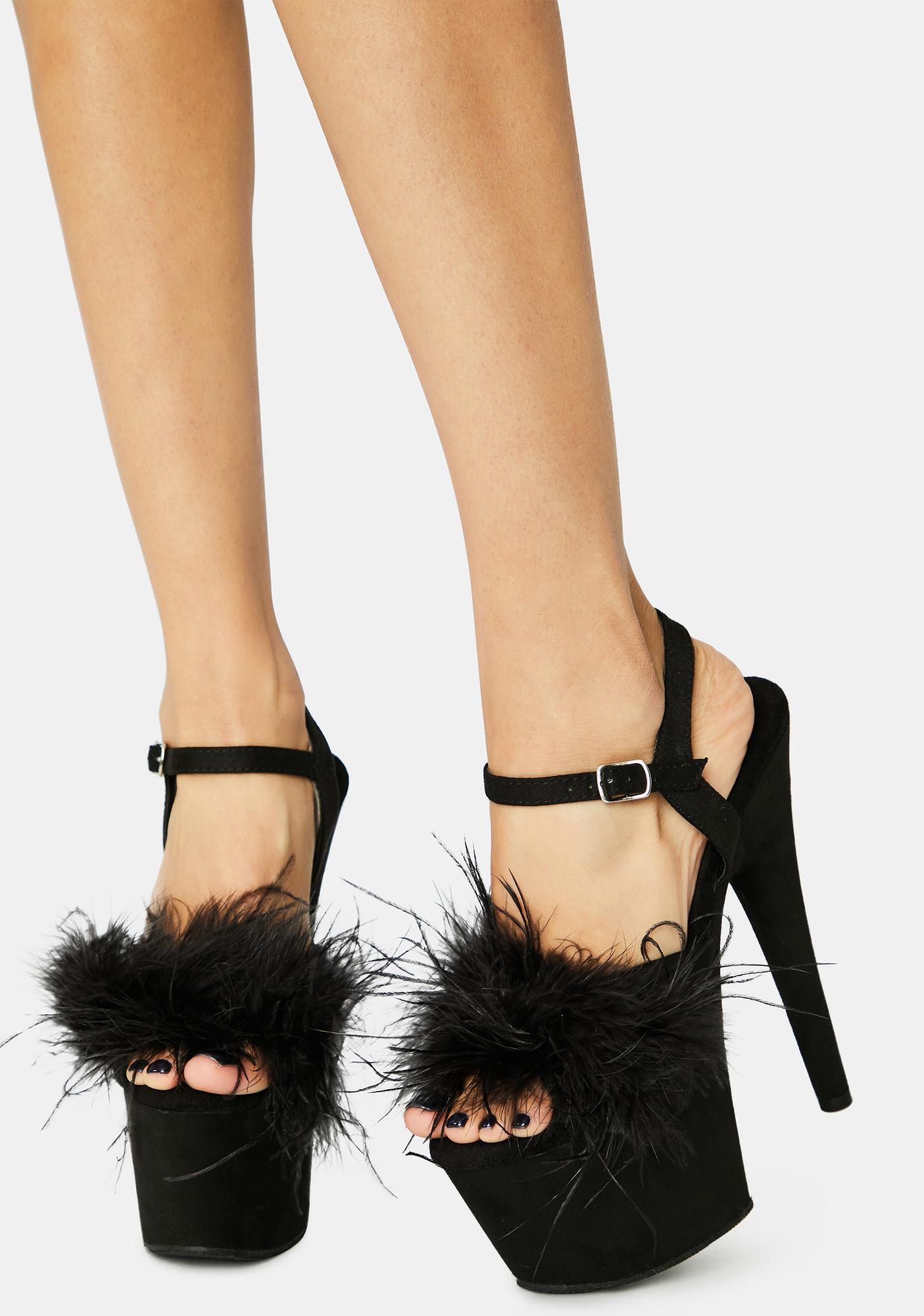 Pleaser Black Adore Fluffy Heels