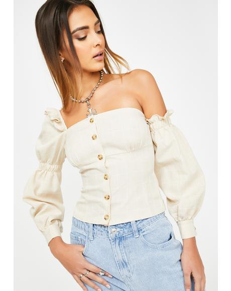 Cream Unbalance Peasant Blouse