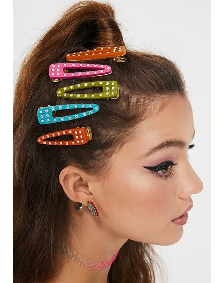 Color Me Cute Chunky Rhinestone Barrette Set