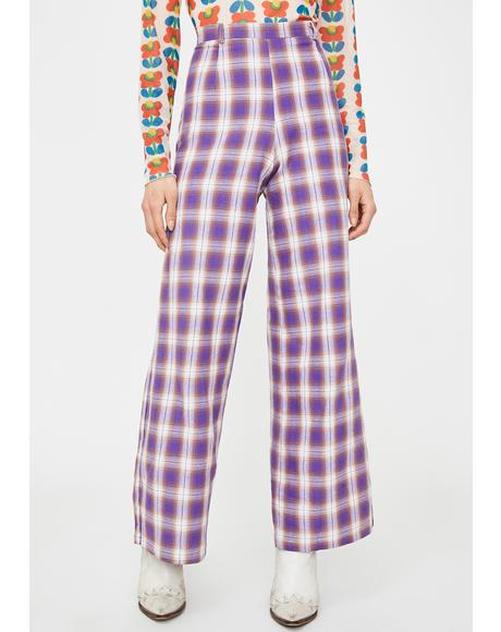 Wide Leg Check Print Trousers