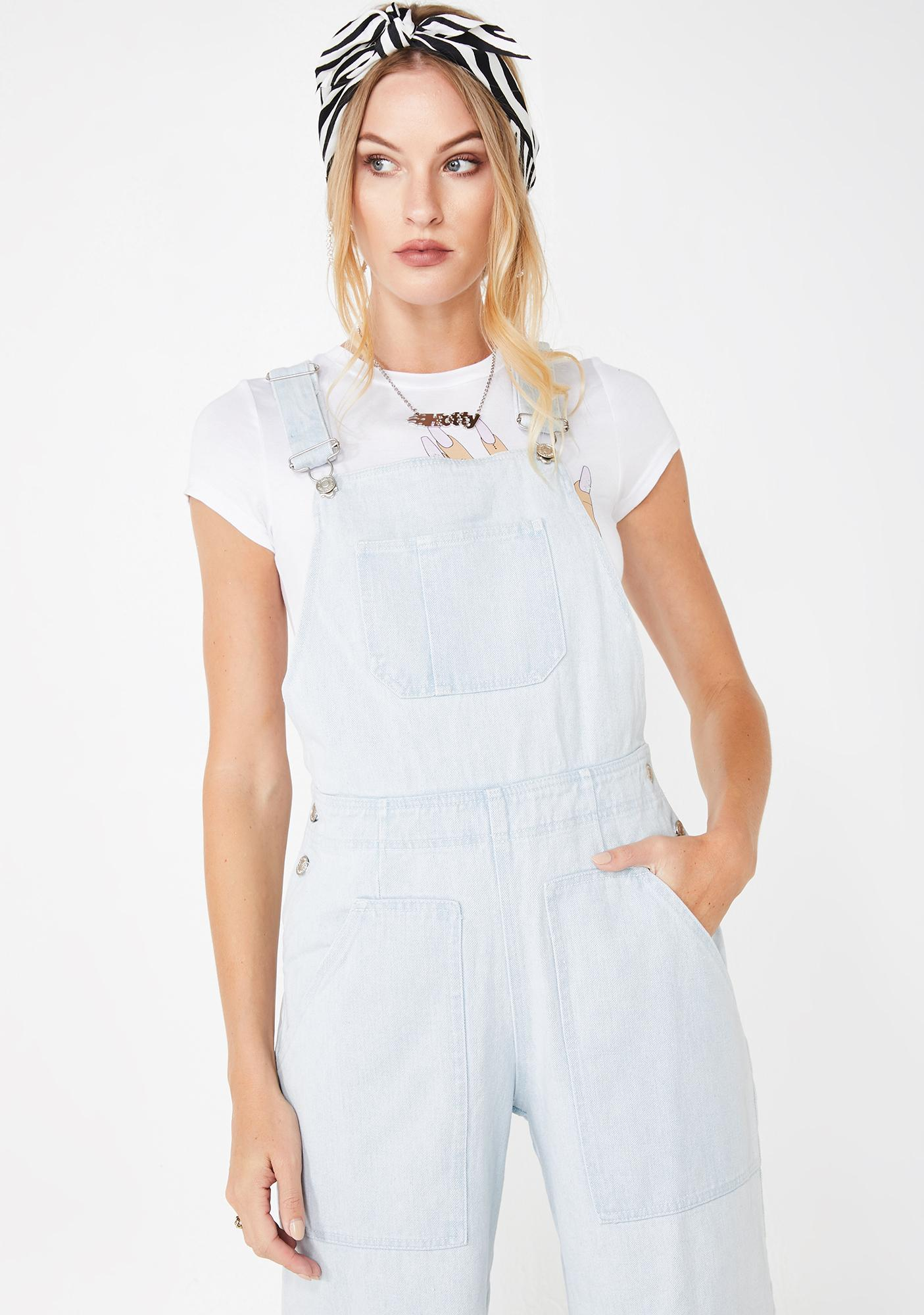 Sky Just Want You Denim Overalls by Dolls Kill