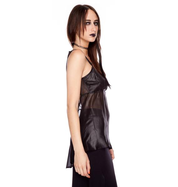 Widow Pentagram Strap Matte Chiffon Cami Top