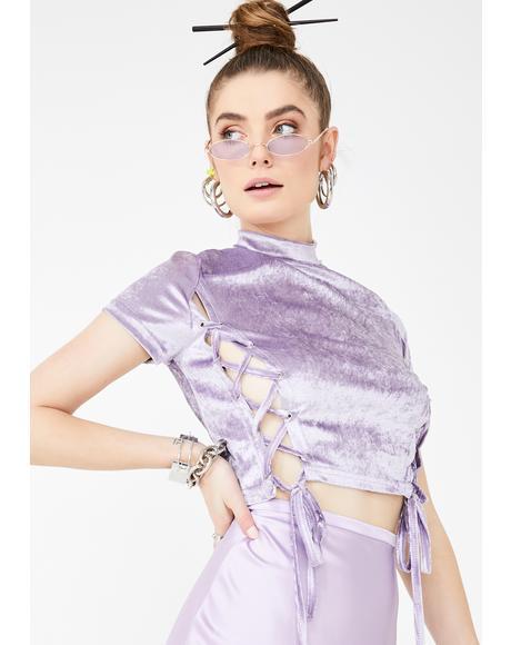 Lilac Cotton Tie Up Top