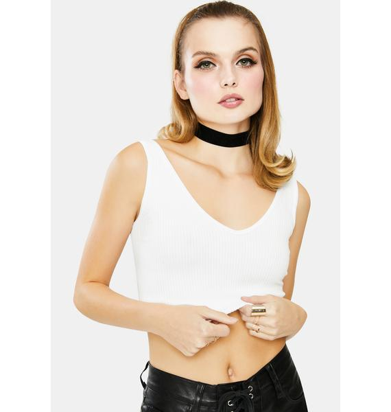 Free People White Solid Ribbed Brami Tank Top