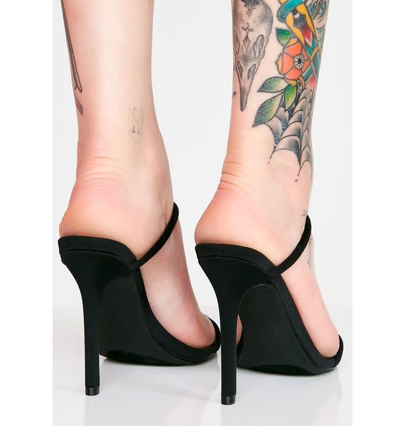 Midnight Slide In Strappy Heels