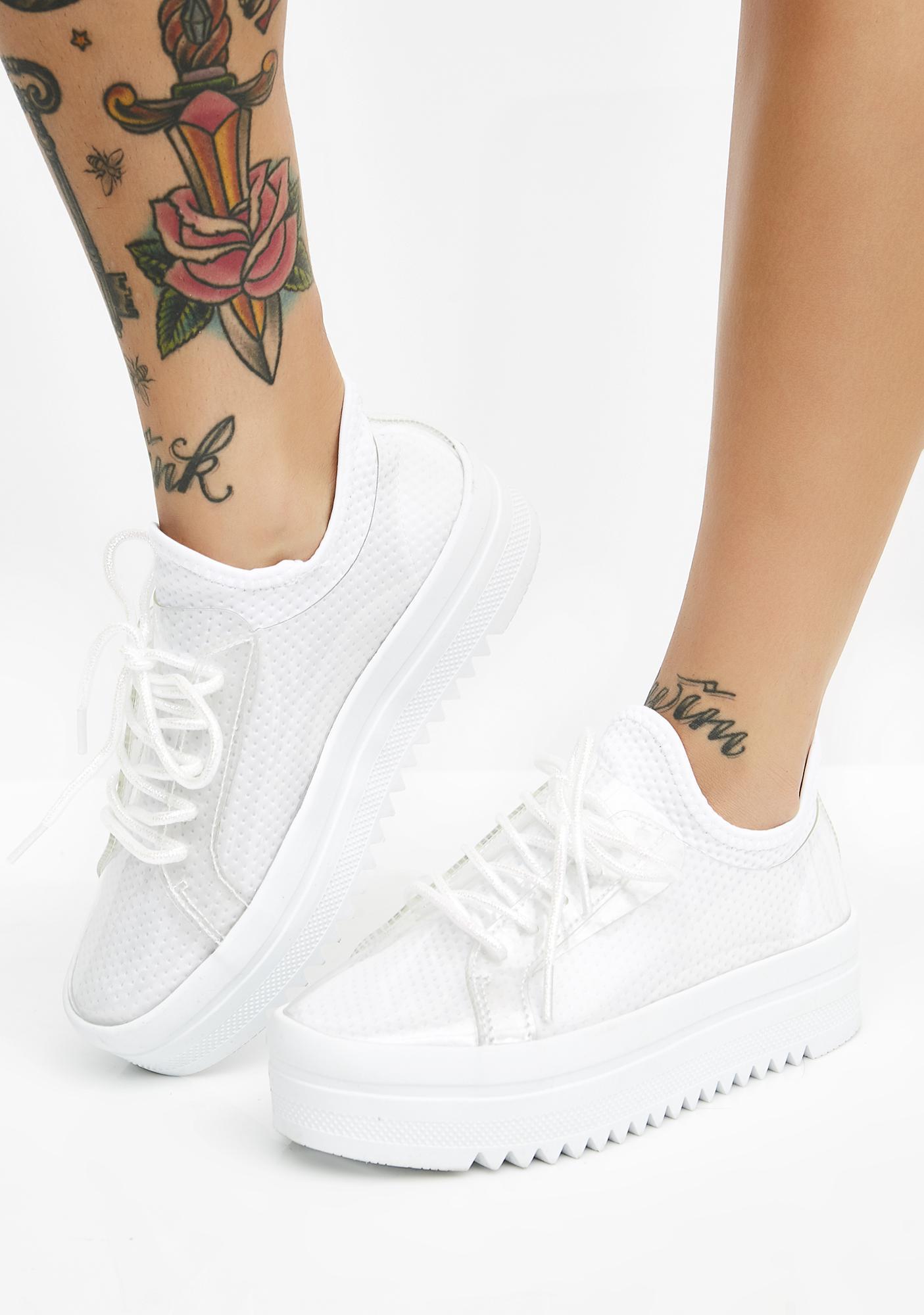 White Platform Sneakers   Dolls Kill