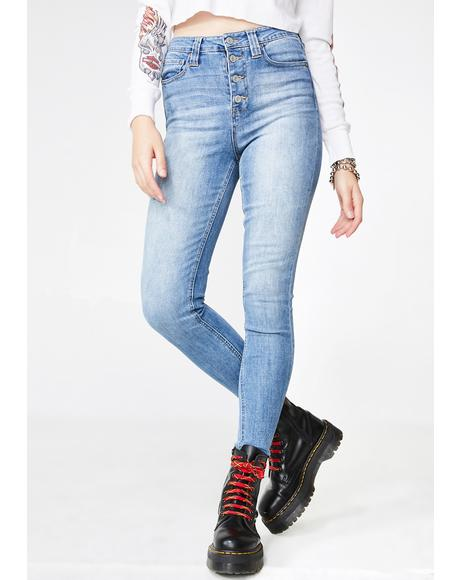 Authentic Exposed Button High Rise Skinny