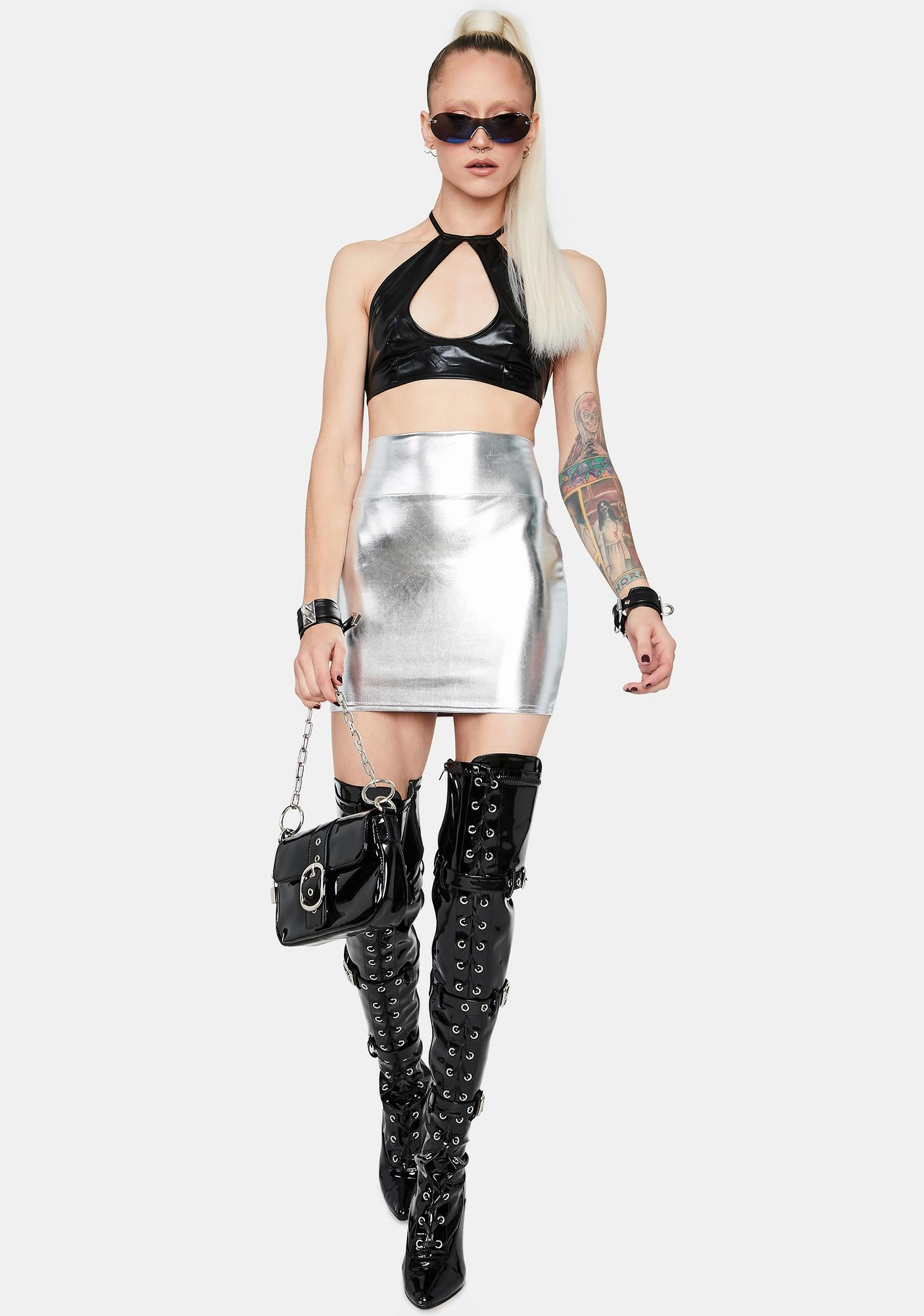 Metallic Barely Buzzed Faux Leather Mini Skirt