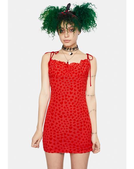 Red Mesh Heart Flock Kalosa Mini Dress