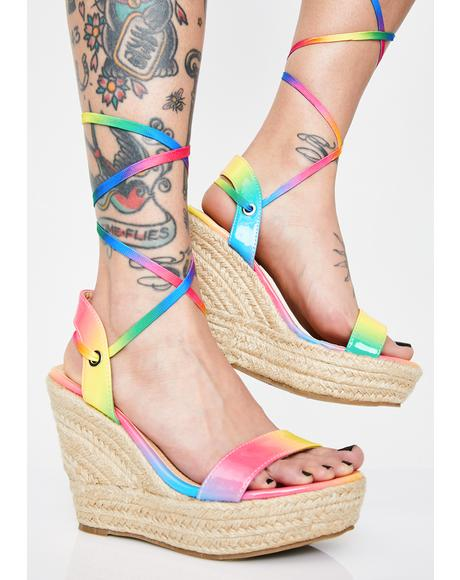 Funky Brunch Babes Lace Up Wedges