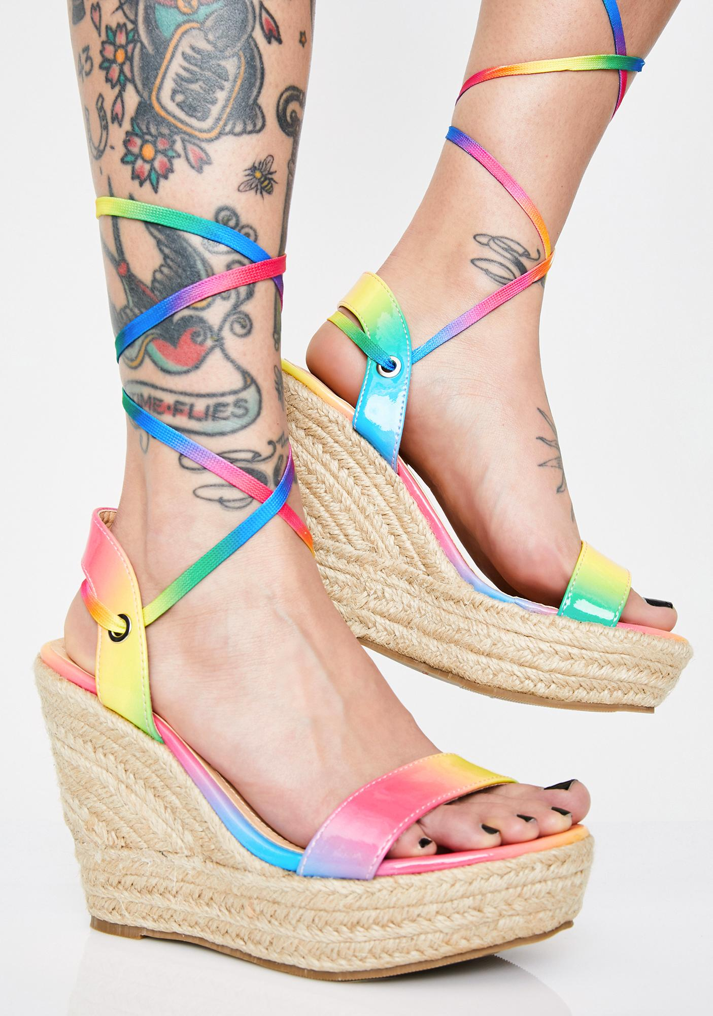 Funky Brunch Babes Lace Up Wedges 8PwknO0X
