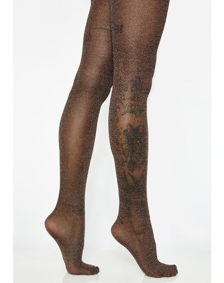 Copper Glittering Flash Tights