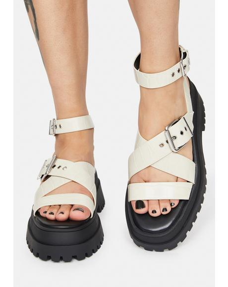 Boo Follow Strappy Buckle Platform Sandals