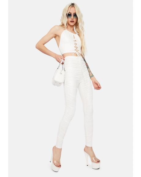 Ivory Sweet Victory Ruched Pants Set
