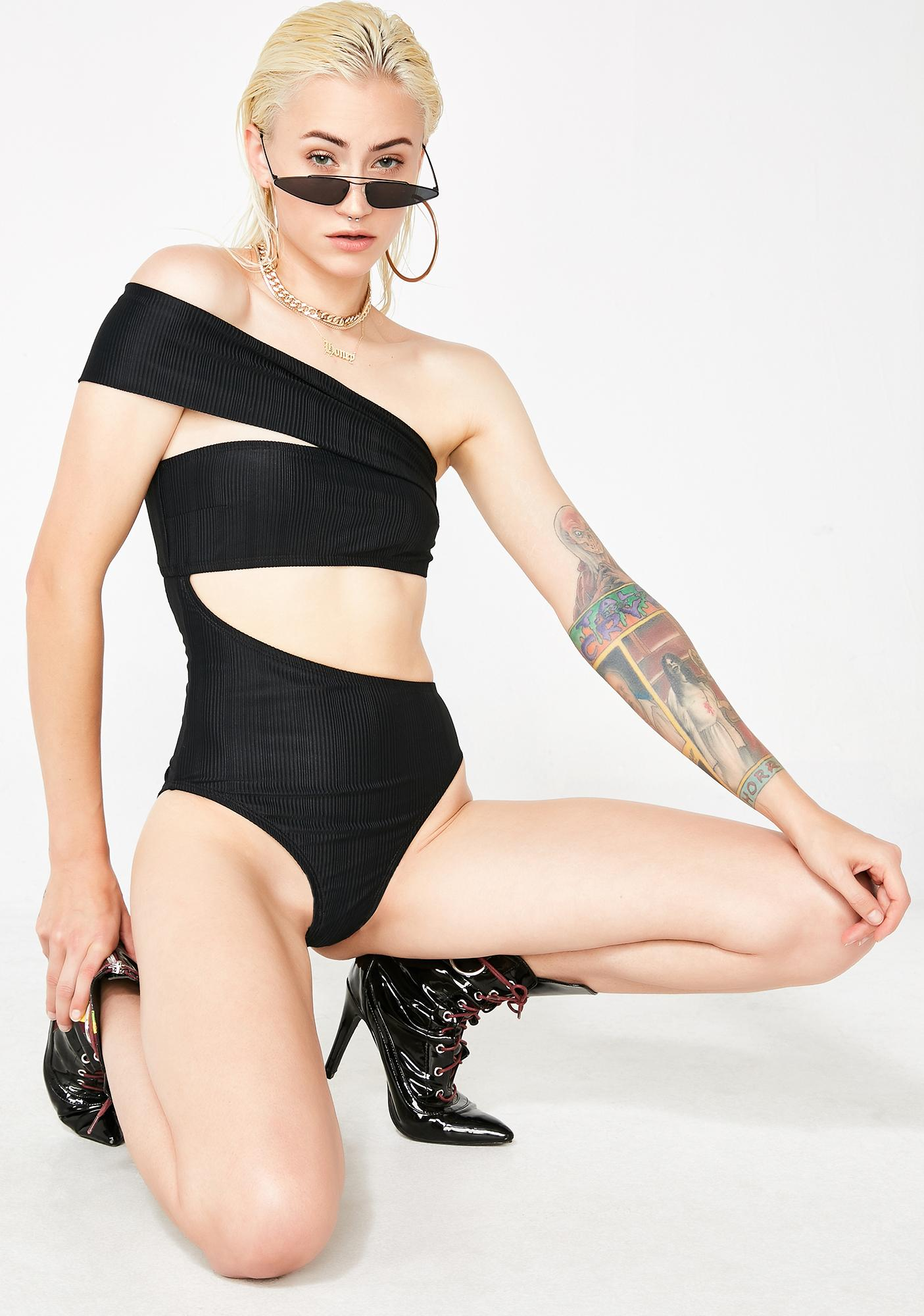 Dark Elements Ribbed One-Piece