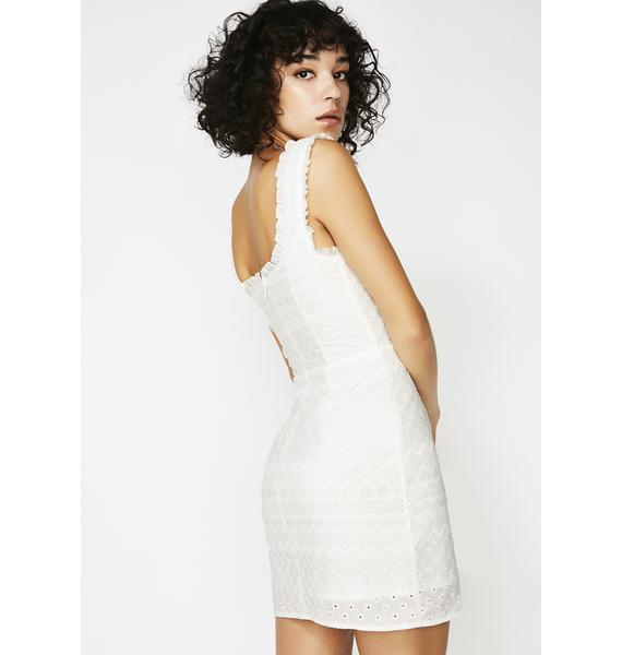 For Love & Lemons Charlotte Eyelet Lace-Up Mini Dress