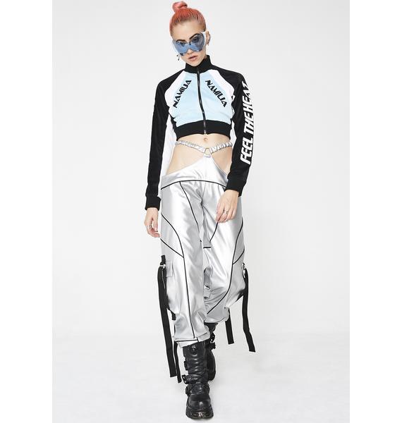 Namilia Sky Velour Motocross Crop Jacket
