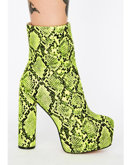 Act Up Snakeskin Platform Boots