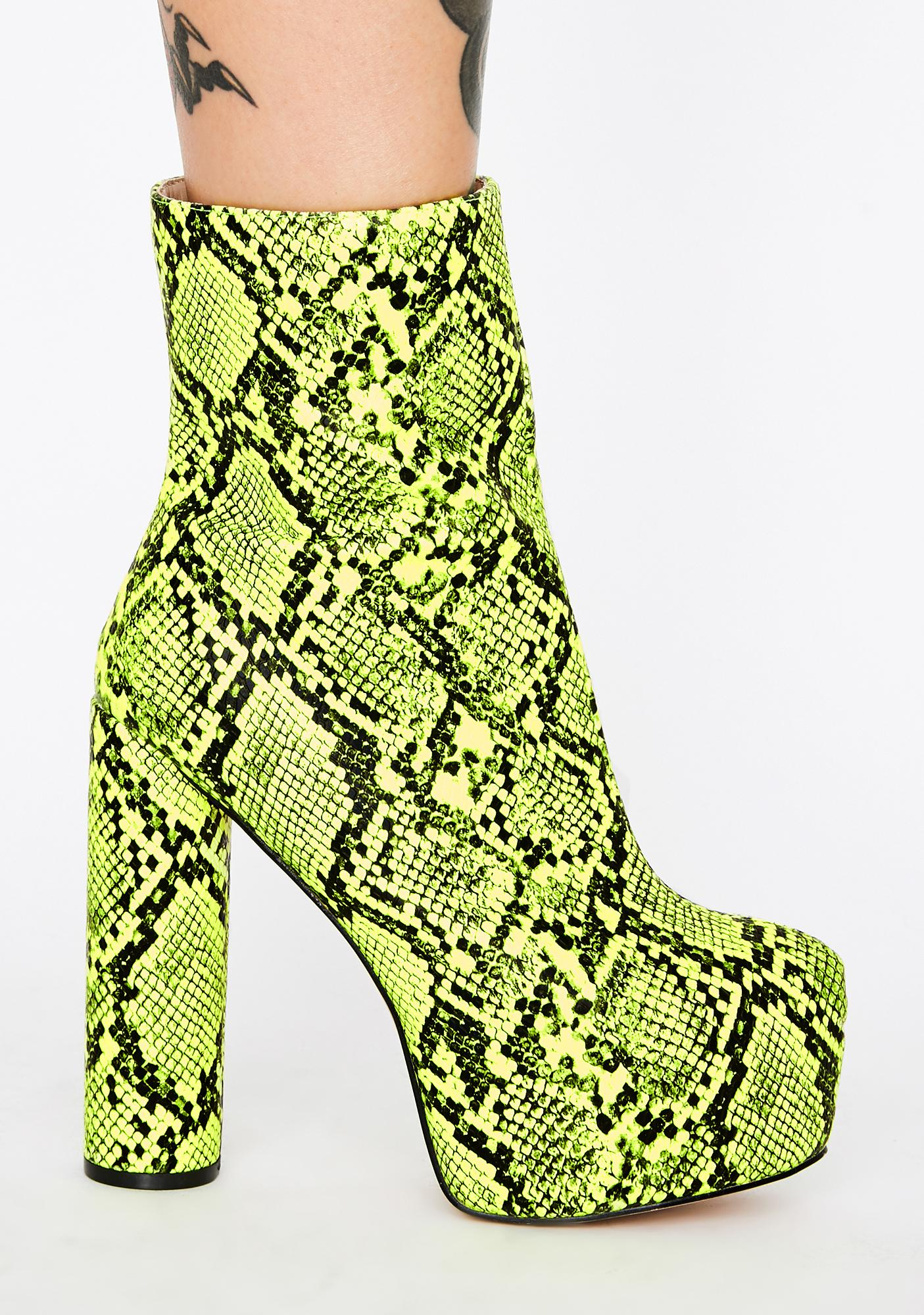 Lemon Drop by Privileged Act Up Snakeskin Platform Boots