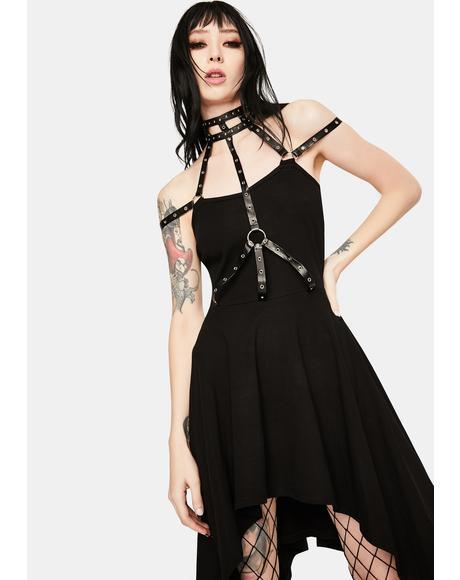Neck Chest Harness Midi Dress