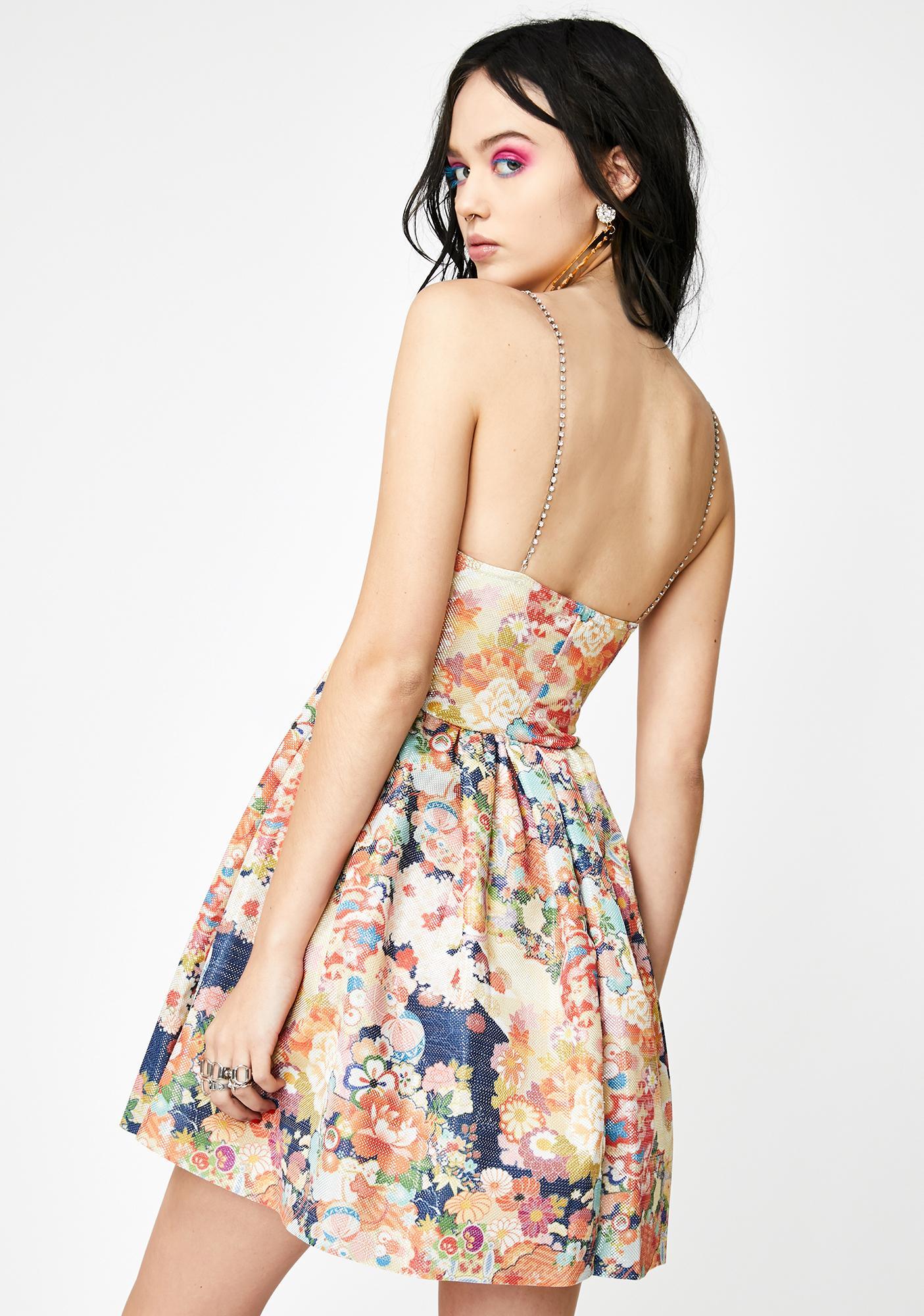 NEW GIRL ORDER Diamante Strap Floral Metallic Dress