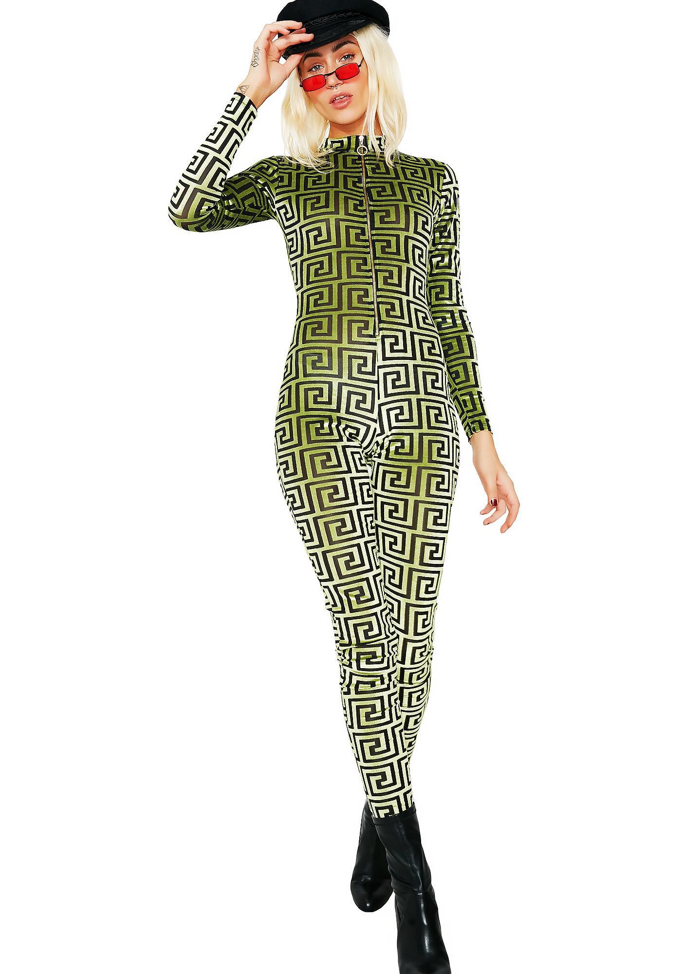 Shape Up Geometric Velvet Jumpsuit