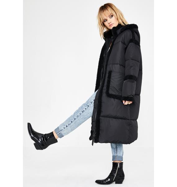 BDG Fleece Trim Longline Puffer Coat