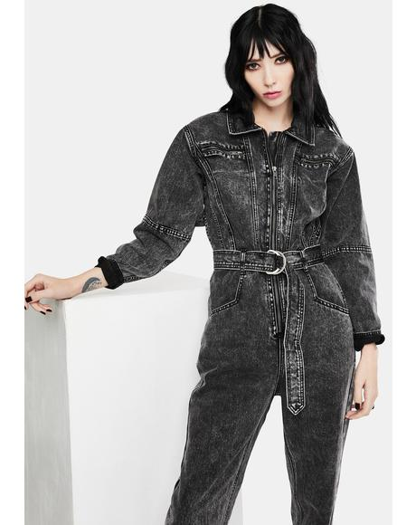 Dark Acid Wash Denim Jumpsuit