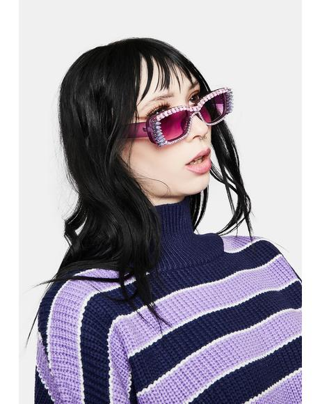 Blush Fast Check Out Studded Sunglasses